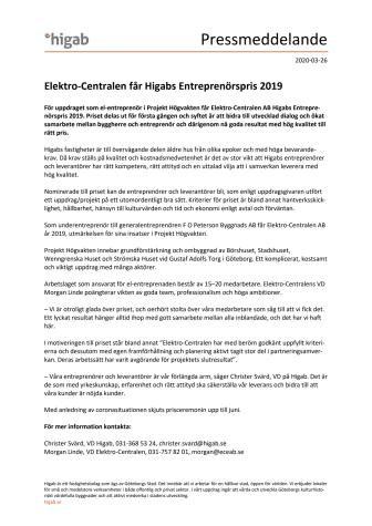 Elektro-Centralen får Higabs Entreprenörspris 2019