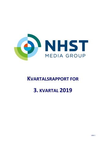 NHST Media Group Kvartalsrapport 3. kvartal 2019