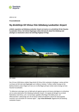 Ny direktlinje till Vilnius från Landvetter