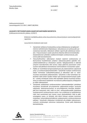 TAL Lausunto yritysverotuksen aiantuntijaryhmän raportista 31.3.2017