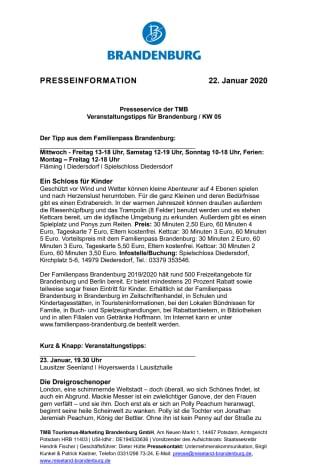 Veranstaltungstipps für Brandenburg / KW 05