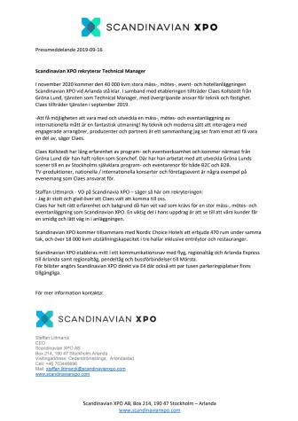 Scandinavian XPO rekryterar Technical Manager