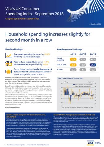 Visa's UK Consumer Spending Index - September 2018
