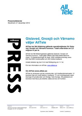Gislaved, Gnosjö och Värnamo väljer AllTele
