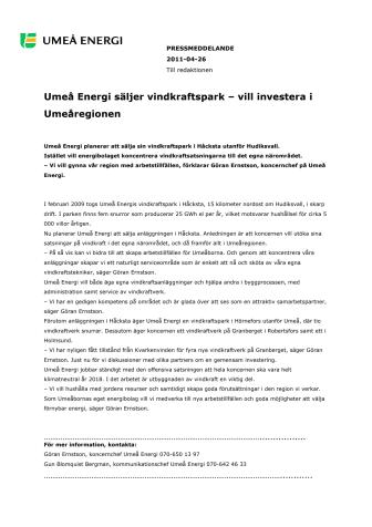Umeå Energi säljer vindkraftspark – vill investera i Umeåregionen