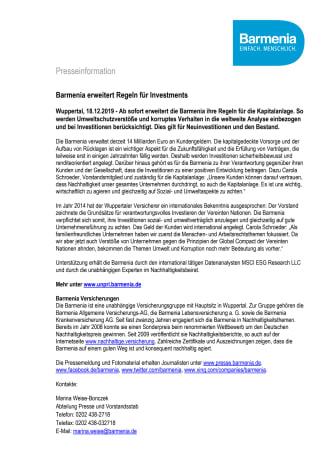 Barmenia erweitert Regeln für Investments
