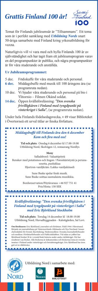 Jubileumsprogram för att hylla Finland