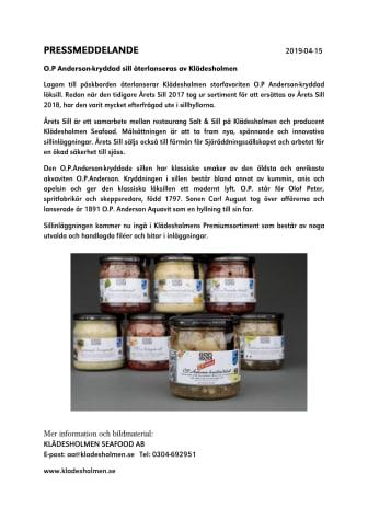 O.P Anderson-kryddad sill återlanseras av Klädesholmen