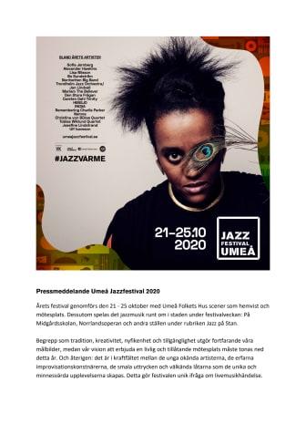 Pressmeddelande Umeå Jazzfestival 2020