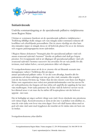 Initiativärende. Undvik sommarstängning av specialiserade palliativa vårdplatser inom Region Skåne..pdf