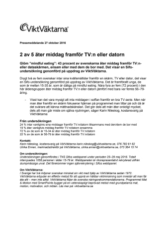 2 av 5 äter middag framför TV:n eller datorn