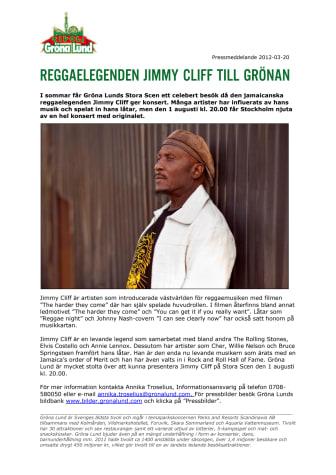 Reggaelegenden Jimmy Cliff till Grönan