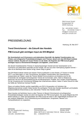 Trend Omnichannel – die Zukunft des Handels: PIM-Consult gibt wichtigen Input als EHI-Mitglied