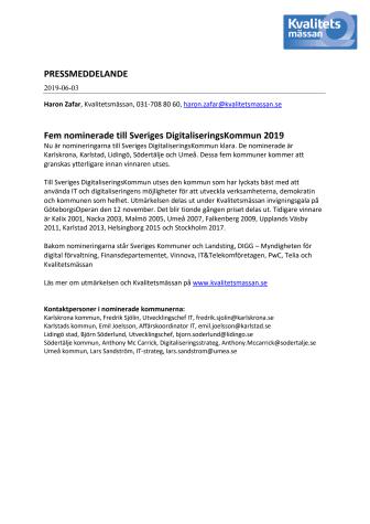 Fem nominerade till Sveriges DigitaliseringsKommun 2019
