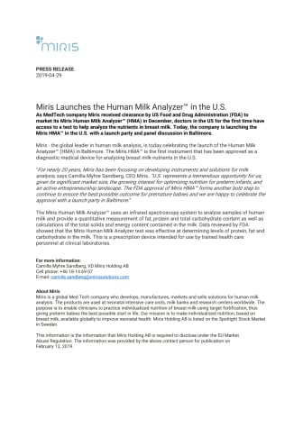 Miris Launches the Human Milk Analyzer™ in the U.S.