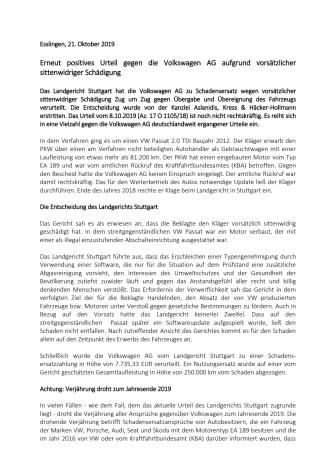 Erneut positives Urteil gegen die Volkswagen AG aufgrund vorsätzlicher sittenwidriger Schädigung