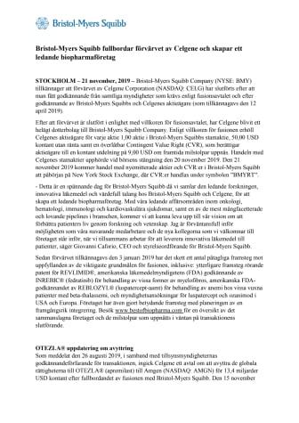 Bristol-Myers Squibb fullbordar förvärvet av Celgene och skapar ett ledande biopharmaföretag