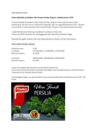 Findus återkallar produkten Våra finaste Persilja 30 gram, artikelnummer 3134