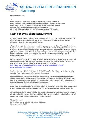 Stort behov av allergikonsulenter i Göteborg
