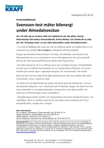 Svensson-test mäter bilenergi under Almedalsveckan