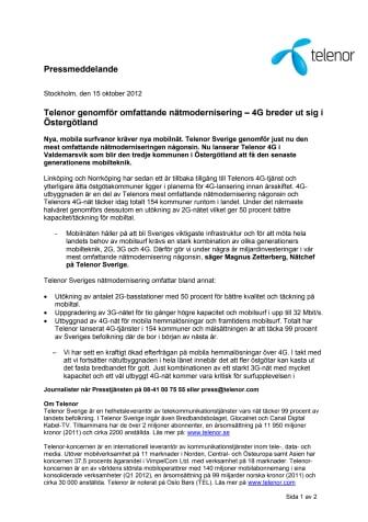 Telenor genomför omfattande nätmodernisering – 4G breder ut sig i Östergötland