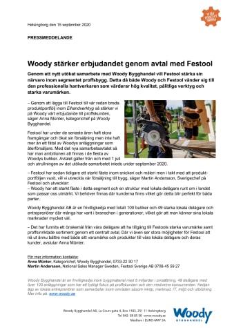 Woody stärker erbjudandet genom avtal med Festool