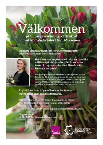 Välkommen på tulpanpressvisning med blomsterkreatör Heidi Mikkonen