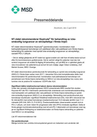NT-rådet rekommenderar Keytruda® för behandling av icke-småcellig lungcancer av skivepiteltyp i första linjen