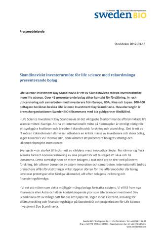 Skandinaviskt investerarmöte för life science med rekordmånga presenterande bolag