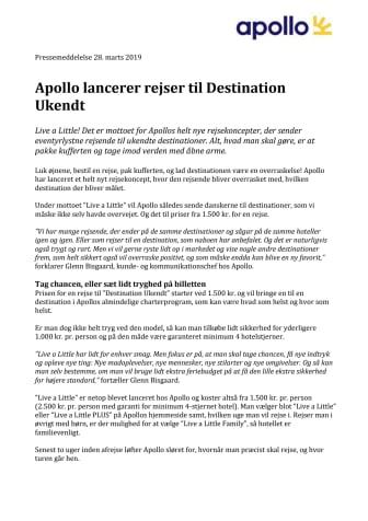 Apollo lancerer rejser til Destination Ukendt