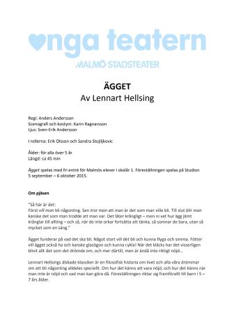 ÄGGET – premiär för Lennart Hellsings klassiker på Unga Teatern