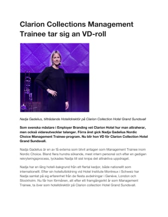 Clarion Collections Management Trainee tar sig an VD-roll