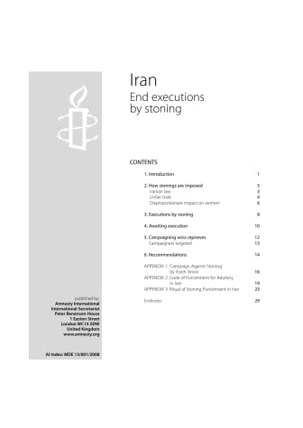 Rapporten Iran: end executions by stoning