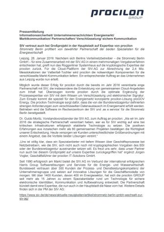 SIV vertraut auch bei Großprojekt in der Hauptstadt auf Expertise von procilon