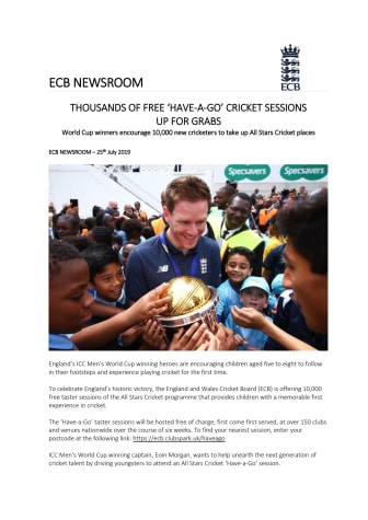 THOUSANDS OF FREE 'HAVE-A-GO' CRICKET SESSIONS  UP FOR GRABS