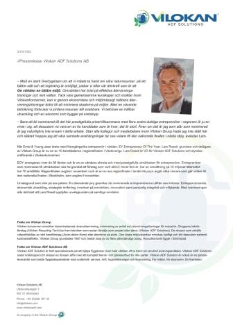 Lars Rosell, VD Vilokan ADF Solutions är nominerad till årets entreprenör…