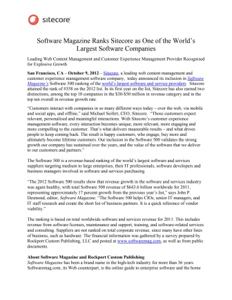 Software Magazine Ranks Sitecore as One of the World's Largest Software Companies