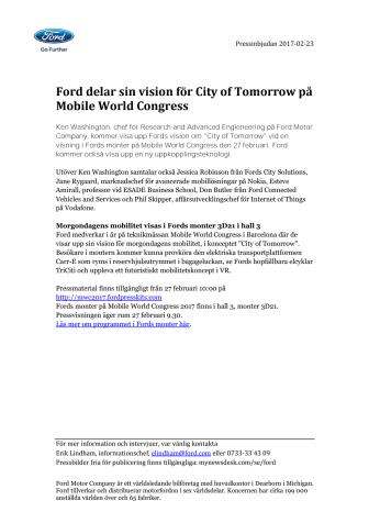 Inbjudan: Ford delar sin vision för City of Tomorrow på Mobile World Congress