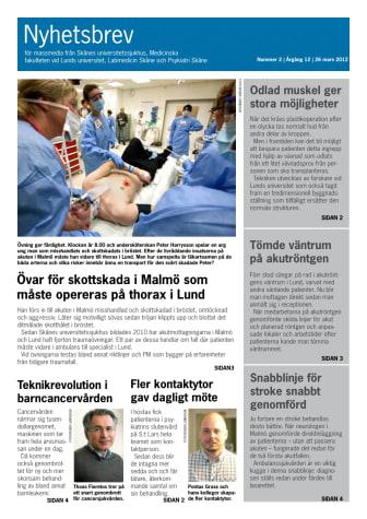 Nyhetsbrev 2 2012 från Skånes universitetssjukhus nu ute