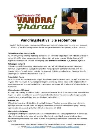 Program för Vandra i Sjuhärad Festival