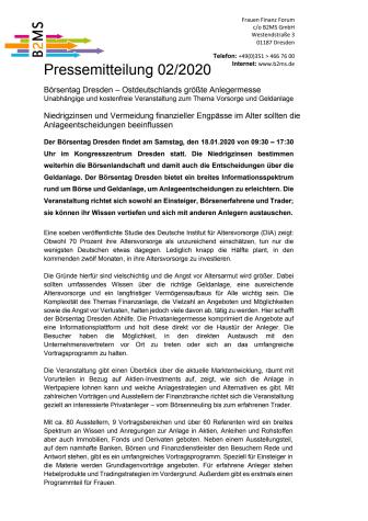 Niedrigzinsen bleiben Herausforderung für Geldanlage und Altersvorsorge - Börsentag Dresden, 18.01.2020