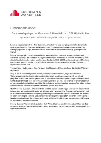 Sammanslagningen av Cushman & Wakefield och DTZ Global är klar