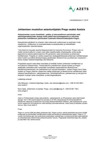 Johtamisen muotoilun asiantuntijatalo Prego osaksi Azetsia