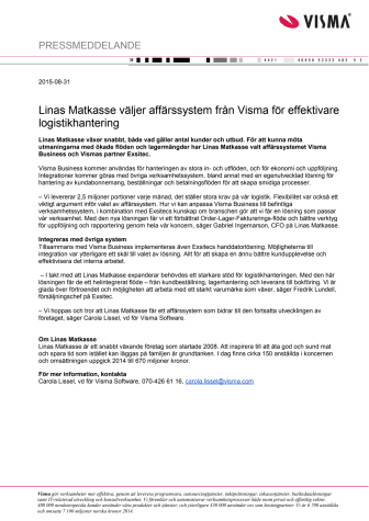 Linas Matkasse väljer affärssystem från Visma för effektivare logistikhantering