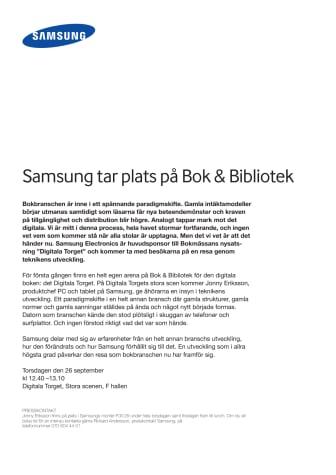 Samsung tar plats på Bok & Bibliotek