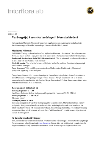 Varbergstjej i svenska landslaget i blomsterbinderi