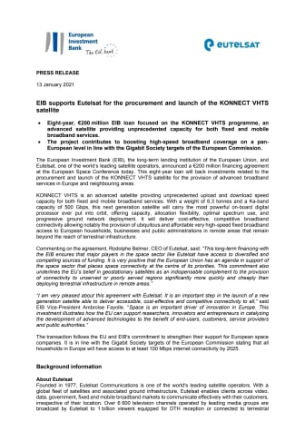 EIB supports Eutelsat for the procurement and launch of the KONNECT VHTS satellite