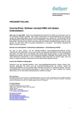 Corona-Krise: Gothaer vernetzt KMU mit lokalen Unterstützern