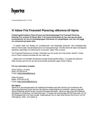Vi hälsar Fria Finansiell Planering välkomna till Hjerta