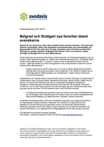 Belgrad och Stuttgart nya favoriter bland svenskarna